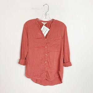 Lucky Brand | pin stripe button up blouse medium